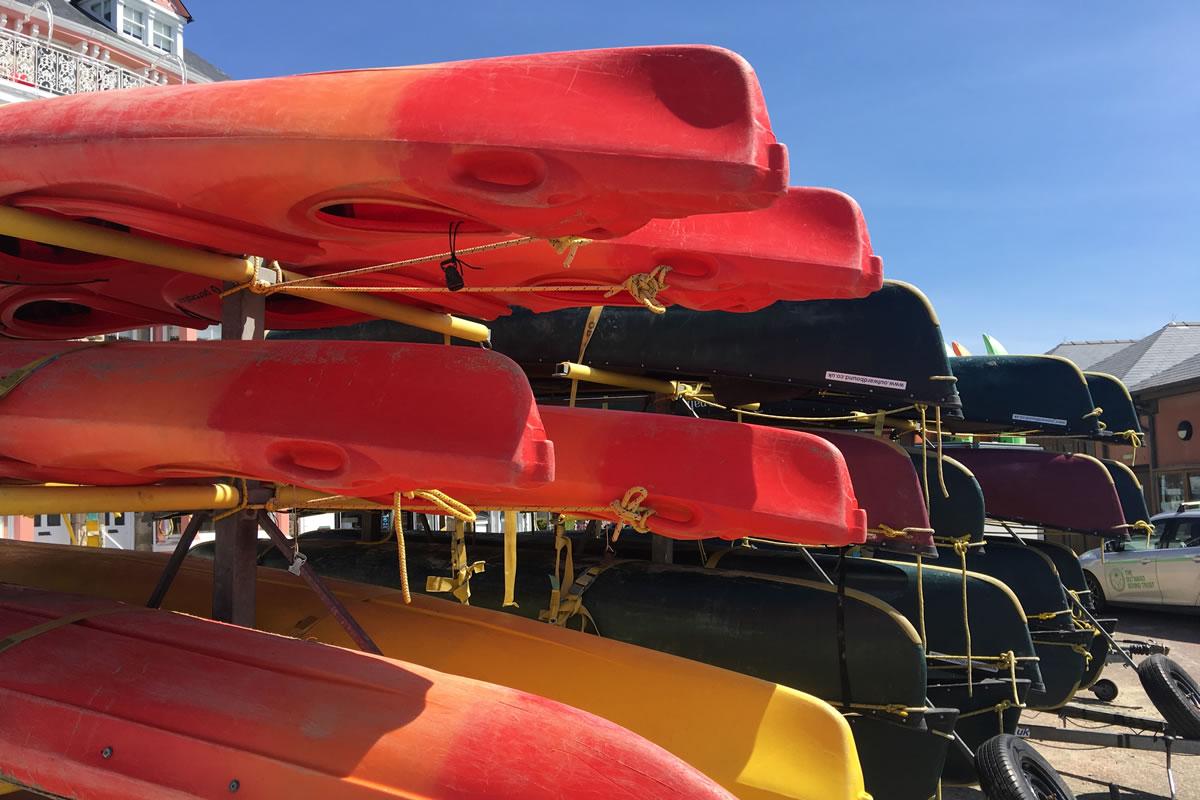 Red kayaks in Aberdovey